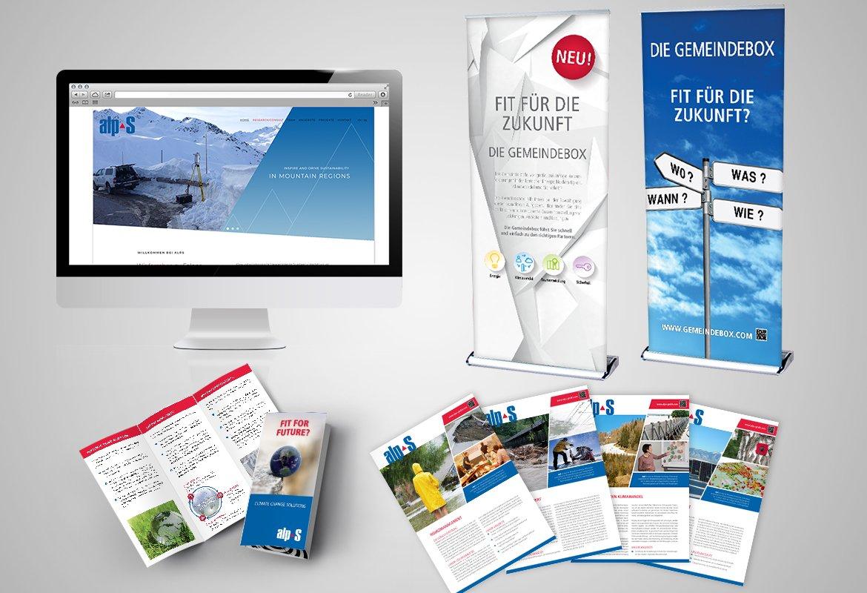 Homepage, Roll Ups, Folder und Bereichsblätter